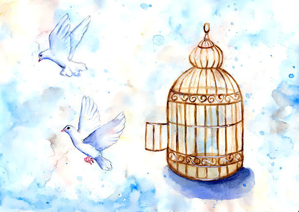 Doves and Birdcage Tattoo Design