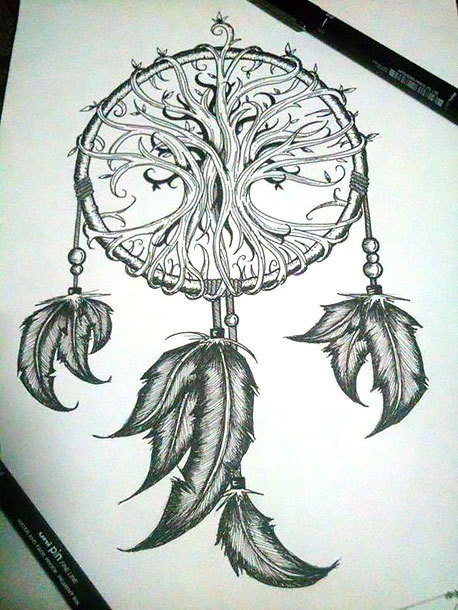 Dreamcatcher With Indian Feathers Tattoo Design