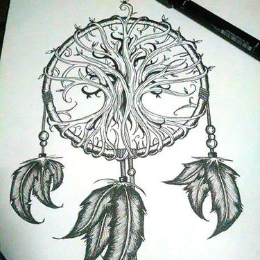 Dreamcatcher With Indian Feathers Tattoo