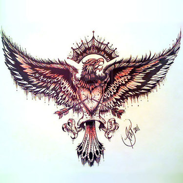 Eagle with Heart on Chest Tattoo