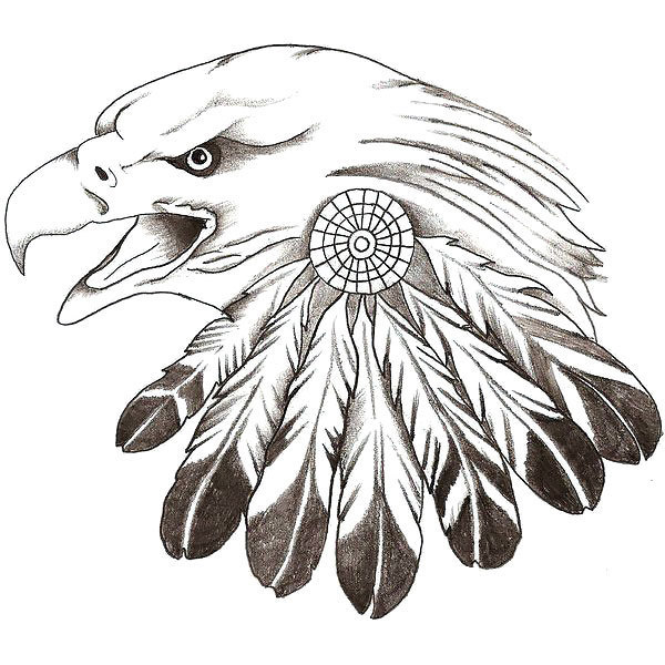 Eagle With Indian Feathers Tattoo Design