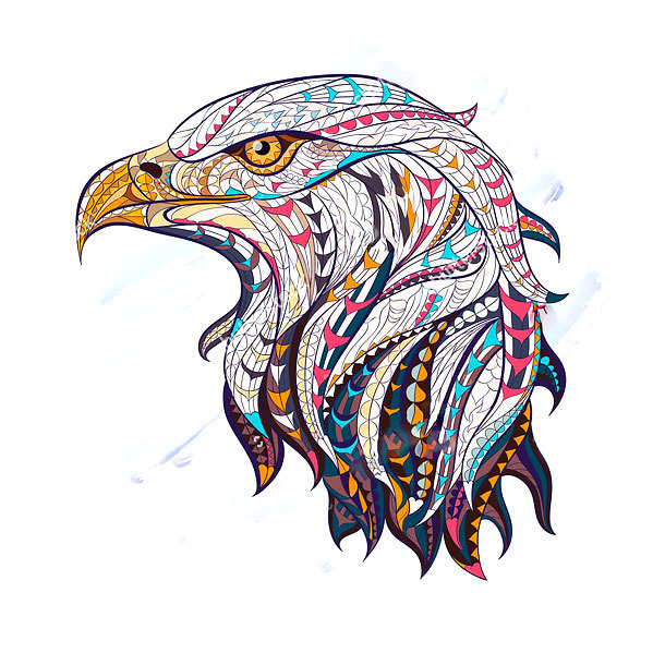 Ethnic Eagle Tattoo Design