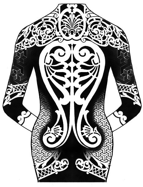 Female Blackwork Tattoo Design
