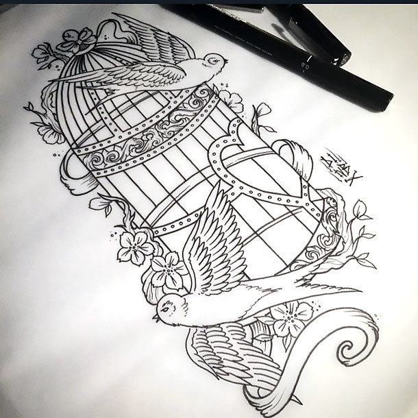 Fine Line Bird Cage Tattoo Design
