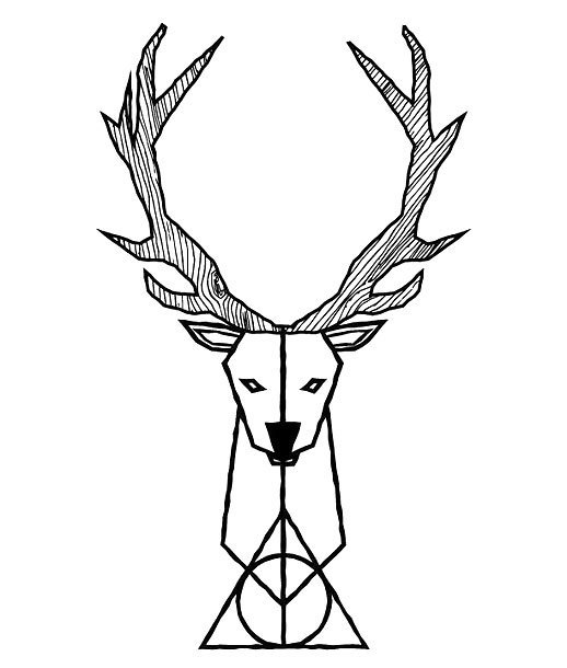 Fine Line Deer Tattoo Design