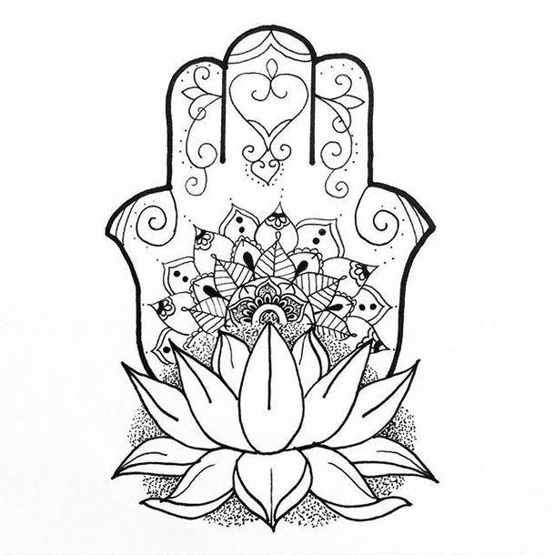 Fine Line Hamsa Tattoo Design