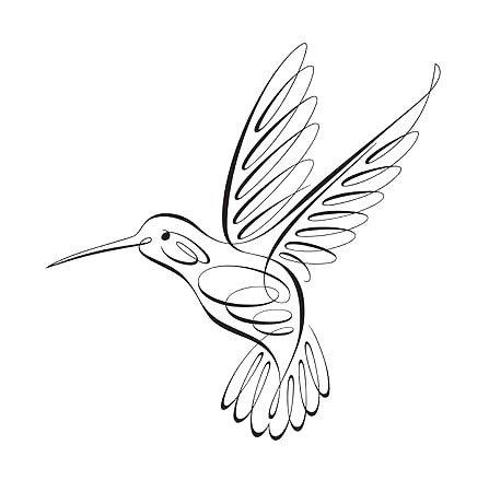 Fine Line Hummingbird Tattoo Design