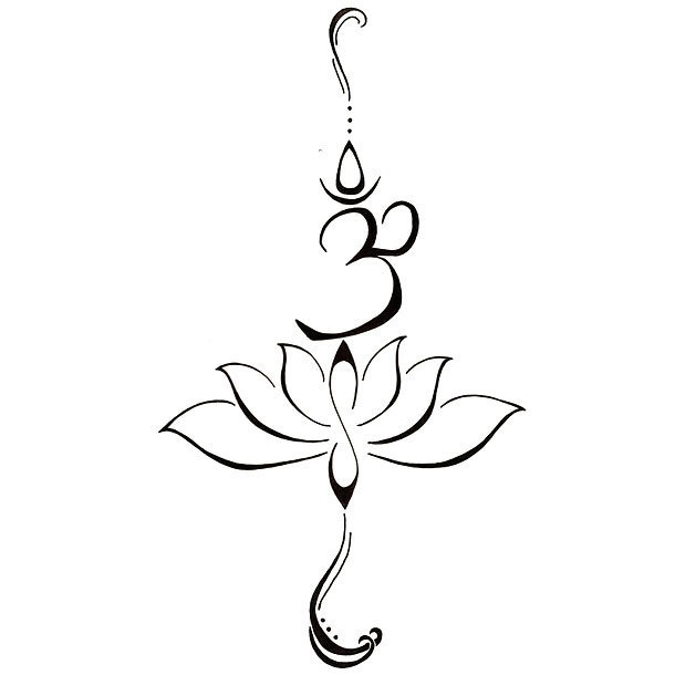 Fine Line Om and Lotus Tattoo Design