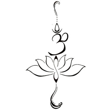 Fine Line Om and Lotus Tattoo