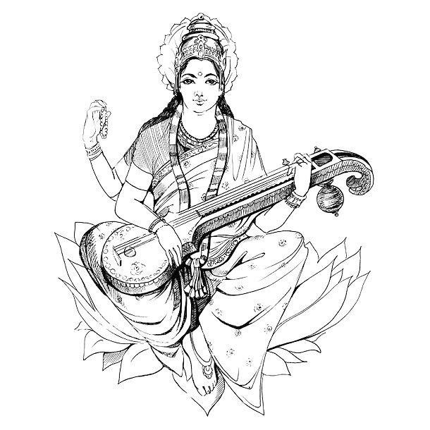 Fine Line Saraswati Tattoo Design
