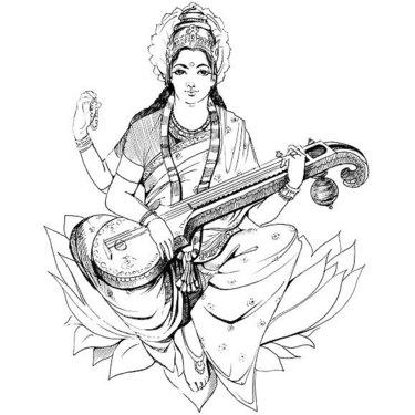 Fine Line Saraswati Tattoo