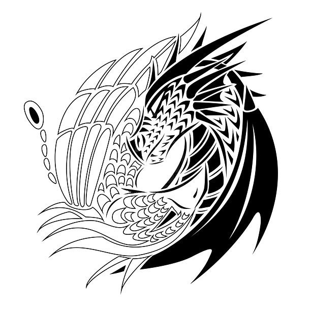 Fine Line Yin Yang Dragons Tattoo Design