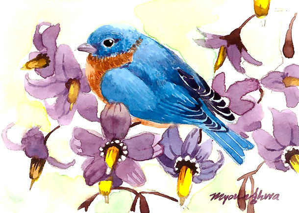 Floral Bluebird Tattoo Design