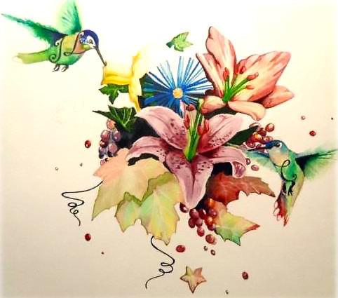 Floral Hummingbirds Tattoo Design