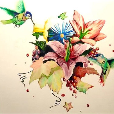 Floral Hummingbirds Tattoo