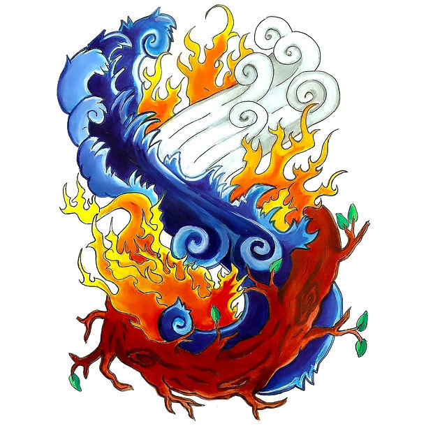Four Elements In Oriental Style Tattoo Design