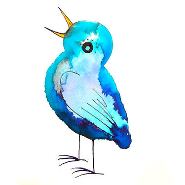 Funny Blue Songbird Tattoo