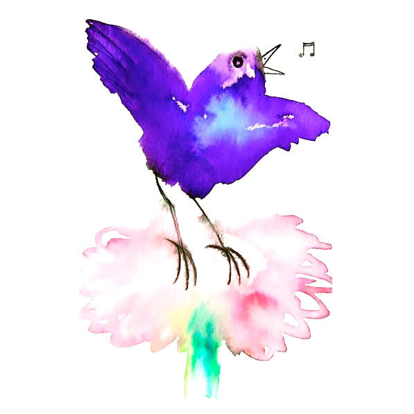 Funny Colorful Songbird Tattoo Design