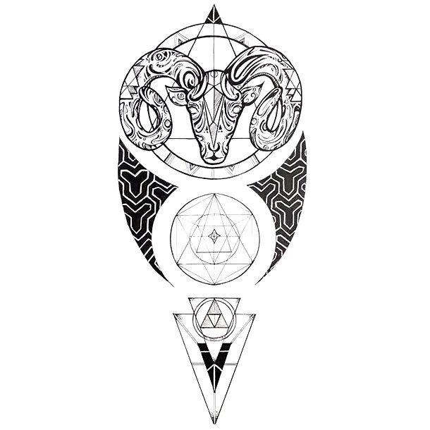 Geometric Aries Tattoo Design