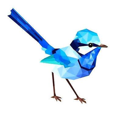 Geometric Bluebird Tattoo