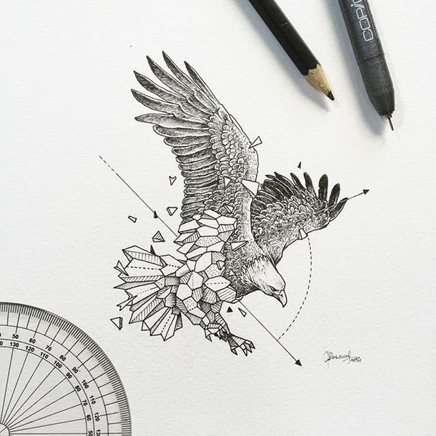 Geometric Eagle Tattoo Design