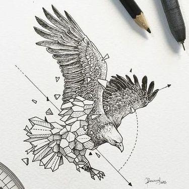Geometric Eagle Tattoo