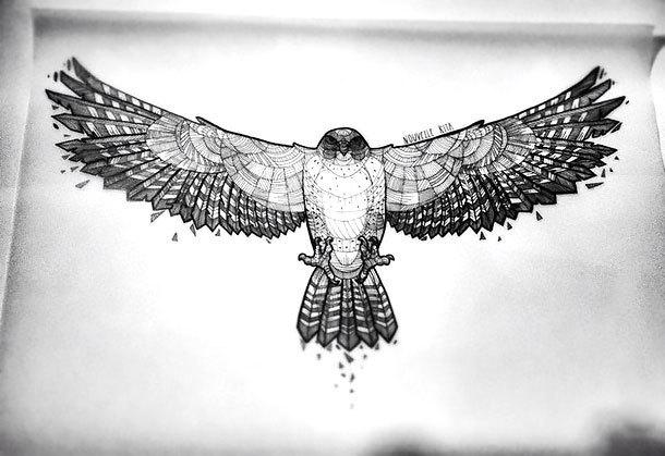 Geometric Hawk Tattoo Design