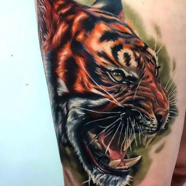 Best Tiger on Thigh Tattoo