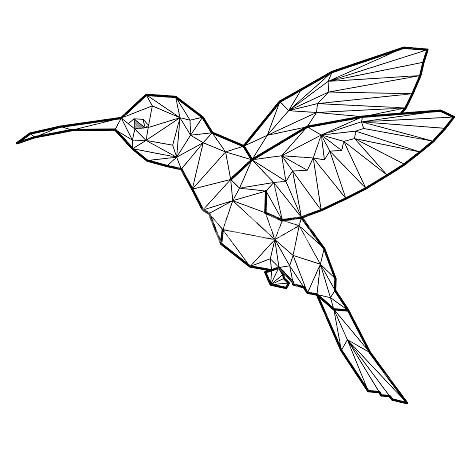 Geometric Hummingbird Tattoo Design
