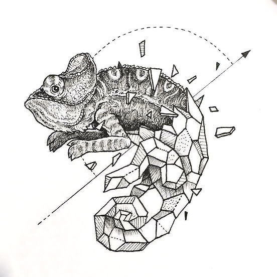 Geometric Lizard Tattoo Design