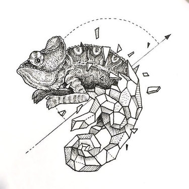 Geometric Lizard Tattoo