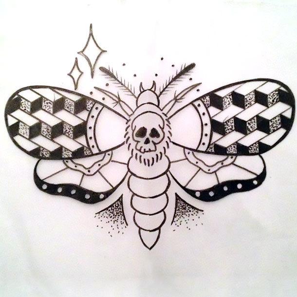 Geometric Moth Tattoo Design
