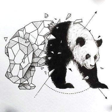 Nice Geometric Panda Tattoo