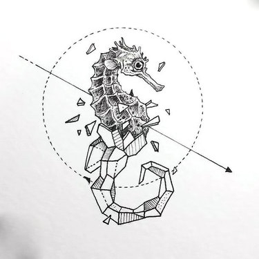 Geometric Sea Horse Tattoo