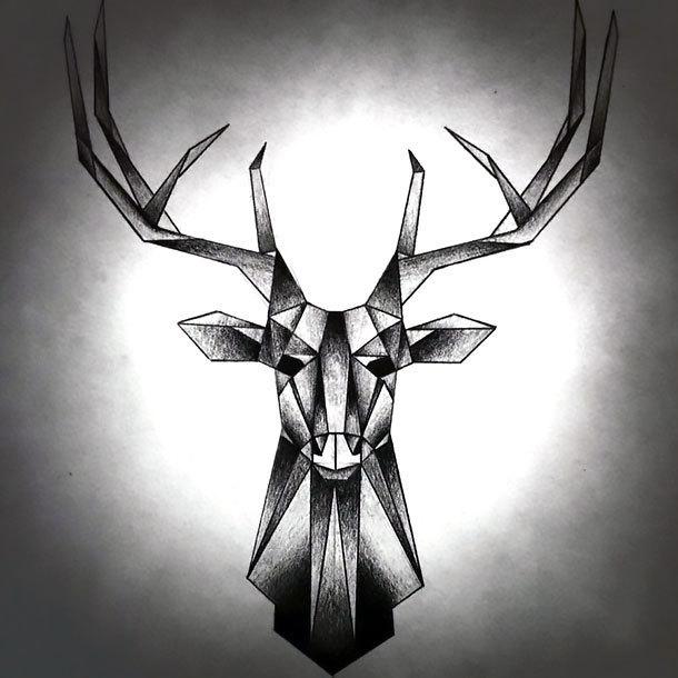 Geometric Stag Tattoo Design