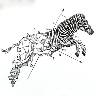 Geometric Zebra Tattoo