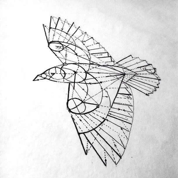 Geometry Crow Tattoo Design