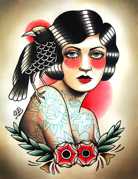 Girl With Crow Tattoo In Traditional Style Tattoo Design