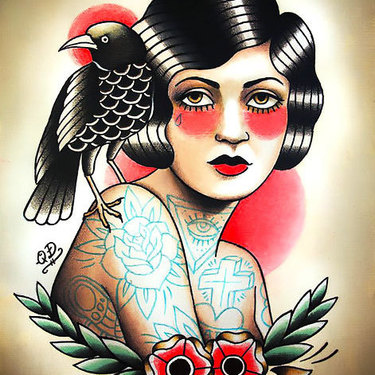 Girl With Crow Tattoo In Traditional Style Tattoo