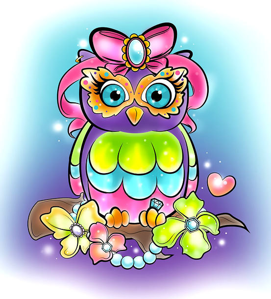Girly Owl Tattoo Design