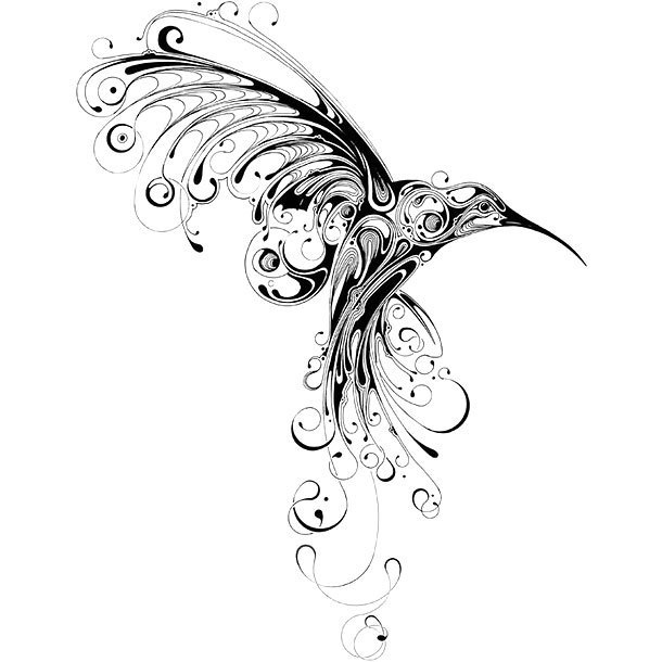 Graceful Ornate Hummingbird Tattoo Design