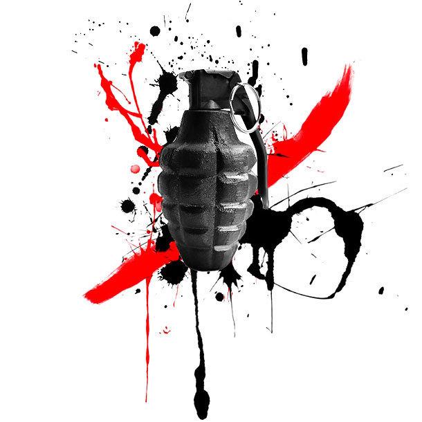 Grenade Trash Polka Tattoo Design