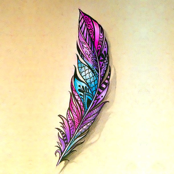 Great Colorful Feather Tattoo Design