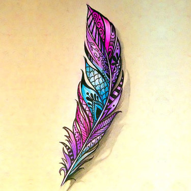 Great Colorful Feather Tattoo
