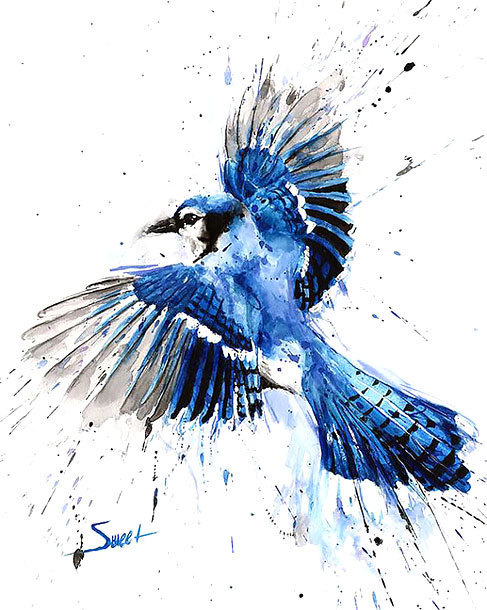 Splashy Colorful Bluebird Tattoo Design