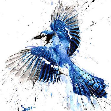 Splashy Colorful Bluebird Tattoo