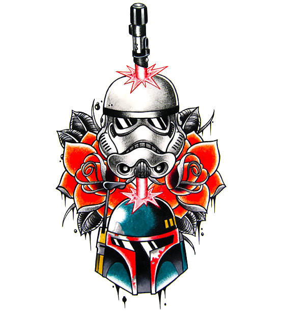 Star Wars Tattoo In Traditional Style Tattoo Design