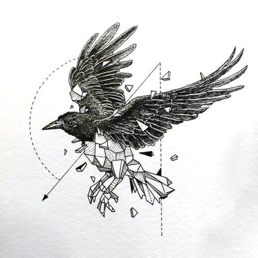 Great Geometric Raven Tattoo