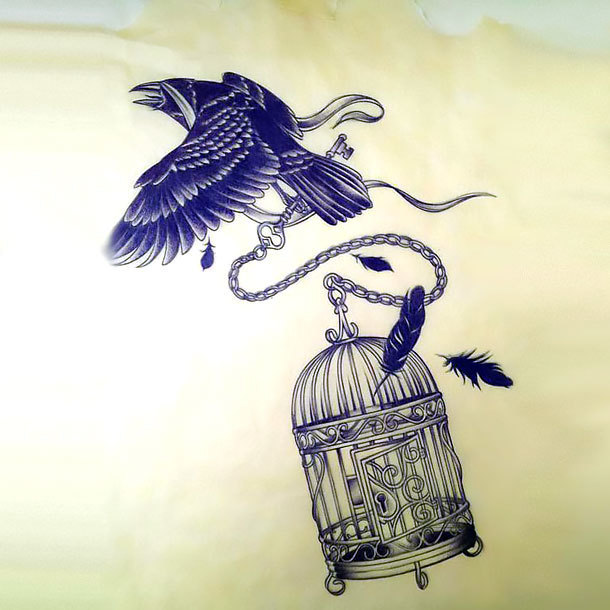 Stolen Birdcage Tattoo Design