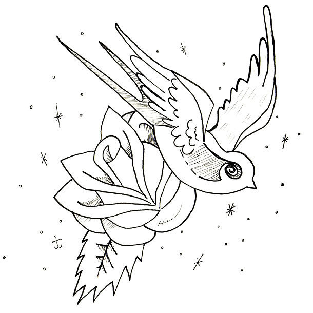 Swallow and Rose Tattoo Design